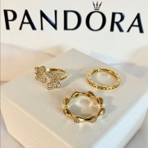 🌼🍃NEW PANDORA SHINE BUTTERFLY RING BUNDLE🍃🌼